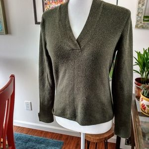 Army green v neck sweater